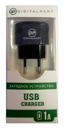 СЗУ DIGITALPART USB 1A с кабелем micro-USB (DP1706), чёрный